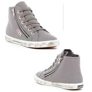 Superga womens grey high tops s007570 Size 10 NWT